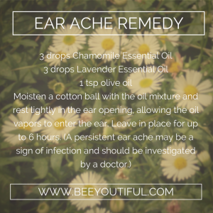 ear ache remedy from Beeyoutiful.com