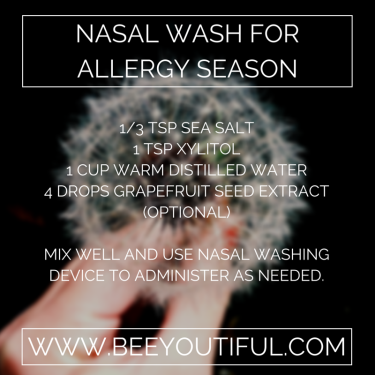 Nasal Wash for Allergy Season from Beeyoutiful.com